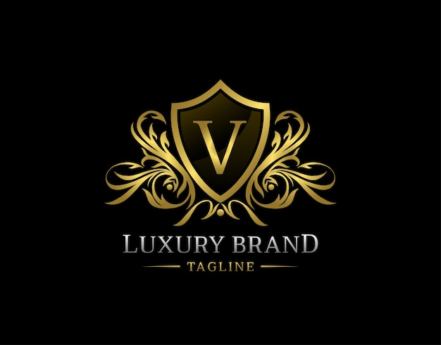 Logo De Lettre V De Bouclier De Luxe. Vecteur Premium