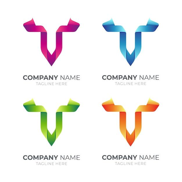 Logo De La Lettre V Du Ruban En Différentes Couleurs Vecteur Premium
