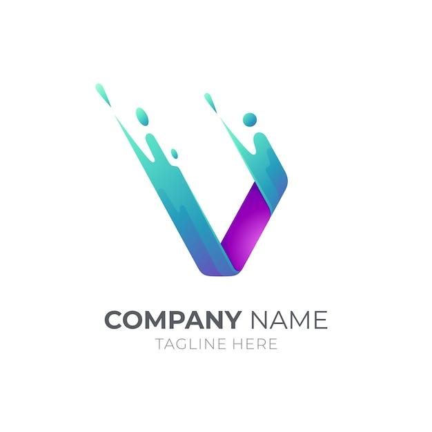 Logo De La Lettre V Avec Forme De Mouvement Rapide Vecteur Premium