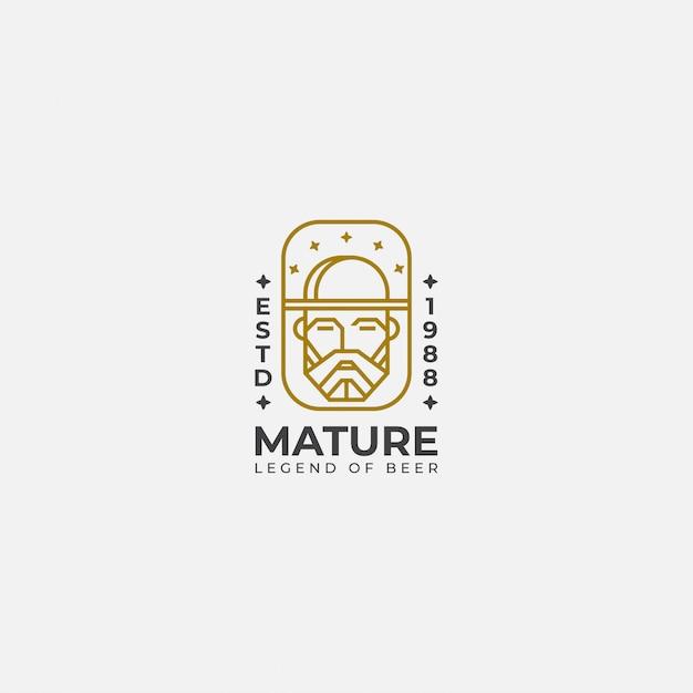 Logo ligne art du vieil homme, Vecteur Premium