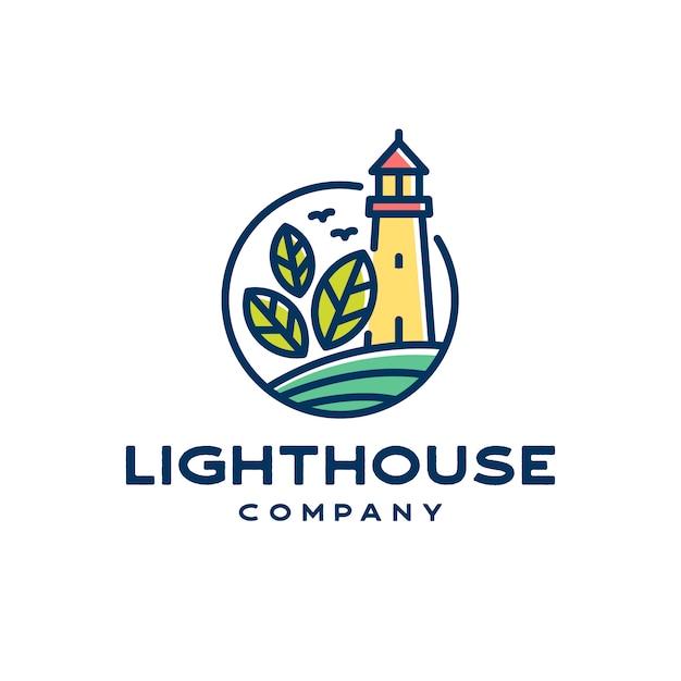 Logo de la ligne lighthouse naturals Vecteur Premium