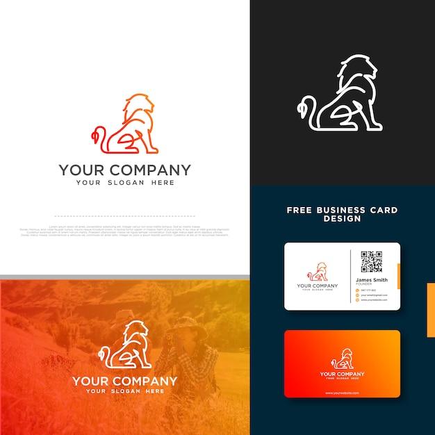 Logo lion avec carte de visite gratuite Vecteur Premium
