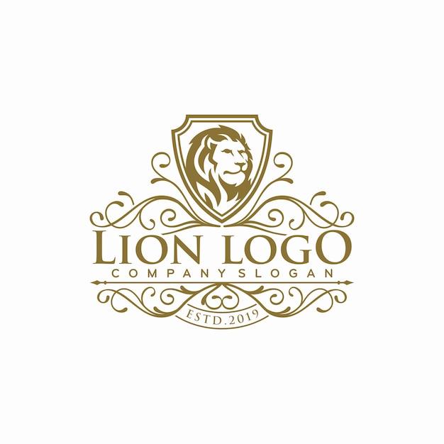 Logo de lion de luxe s Vecteur Premium