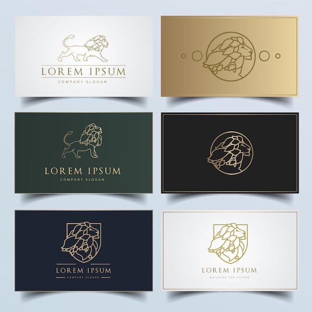 Logo de lion moderne avec variations de carte de visite modifiables Vecteur Premium