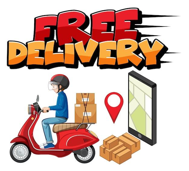 Logo De Livraison Gratuite Avec Homme De Vélo Ou Coursier Vecteur gratuit