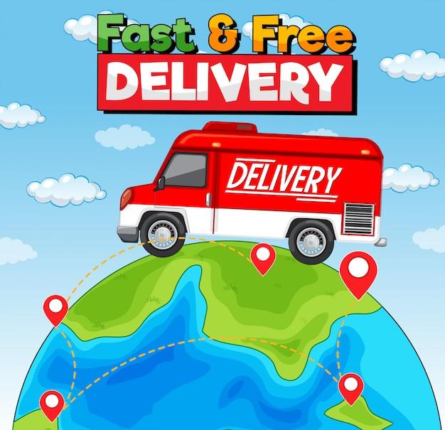 Logo De Livraison Rapide Et Gratuit Avec Camionnette Ou Camion De Livraison Vecteur gratuit