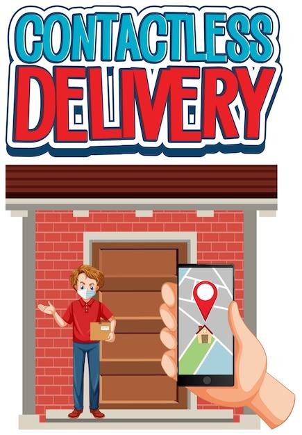 Logo De Livraison Sans Contact Avec Main à L'aide De Smartphone Et Livreur Vecteur gratuit