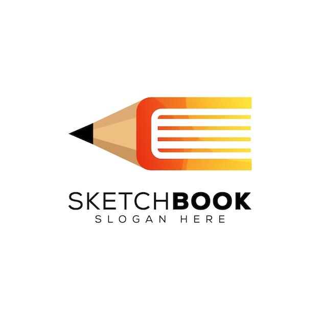 Logo De Livre De Croquis, Crayon Avec Création De Logo De Livre Vecteur Premium
