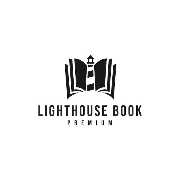 Logo livre phare Vecteur Premium