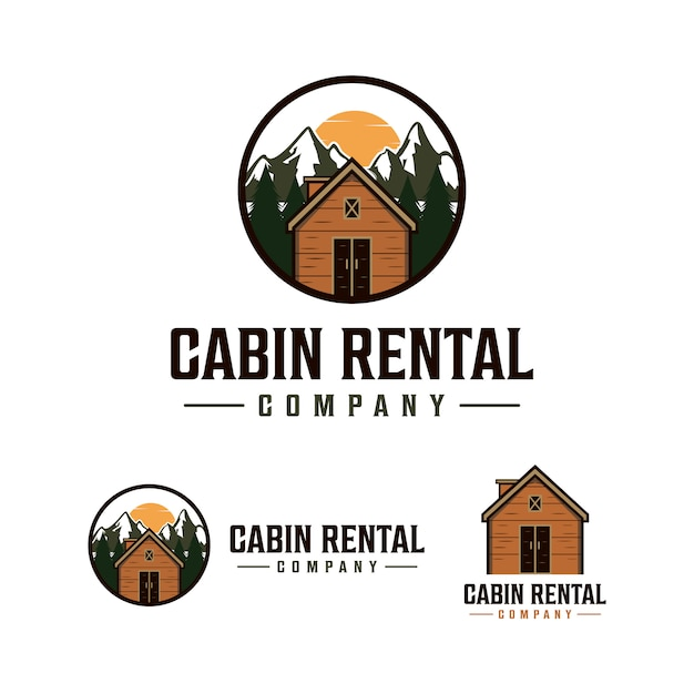 Logo de location de cabine avec paysage Vecteur Premium