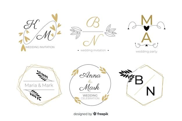 Logo et logo magnifiques et élégants pour mariage ou fleuriste Vecteur gratuit