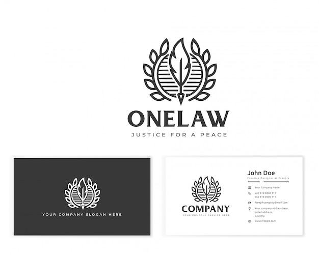 Logo de loi de plume avec carte de visite papeterie Vecteur Premium
