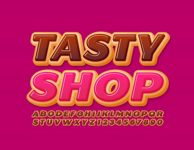 Logo Lumineux Vectoriel Tasty Shop. Police De Gâteau Au Chocolat. Chiffres Et Lettres De L'alphabet Sweet Donut Vecteur Premium