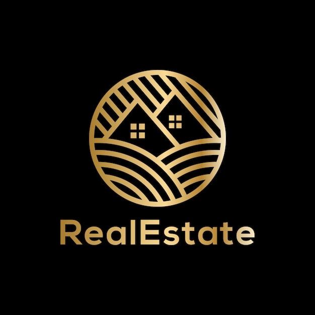 Logo de luxe immobilier doré Vecteur Premium
