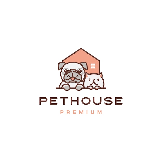 Logo De Maison Chien Chat Animal Domestique Vecteur Premium