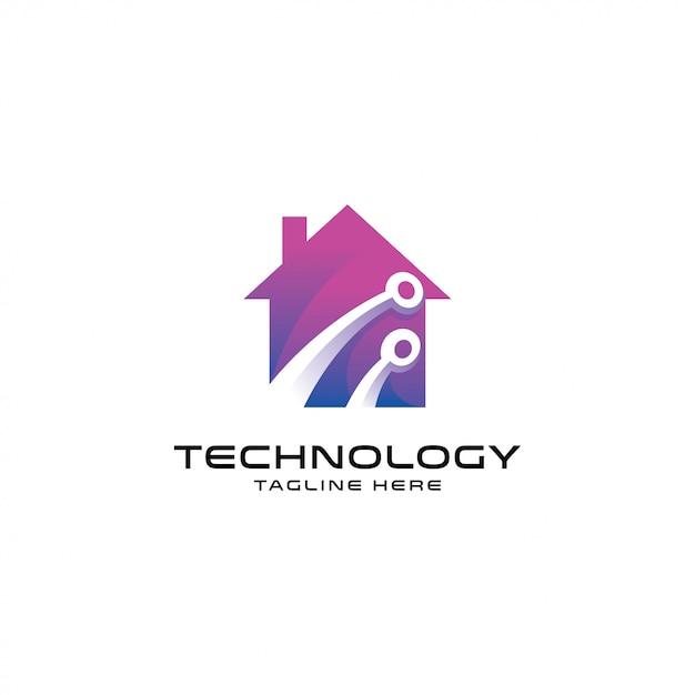 Logo de maison intelligente moderne, technologie et maison Vecteur Premium