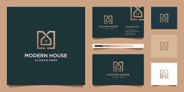 Logo Maison Moderne Pour Construction, Maison, Immobilier, Bâtiment, Propriété. Modèle De Conception De Logo Professionnel à La Mode Minimal Impressionnant Et Conception De Carte De Visite Vecteur Premium