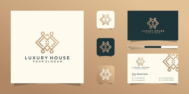 Logo Maison Moderne Pour La Construction, La Maison, L'immobilier, Le Bâtiment, La Propriété. Modèle De Conception De Logo Professionnel Tendance Génial Minimal Et Conception De Carte De Visite Vecteur Premium