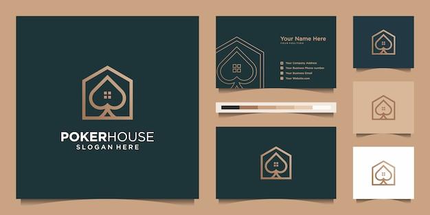 Logo Maison De Poker Moderne Pour La Construction, La Maison, L'immobilier, La Construction, La Propriété. Modèle De Conception De Logo Professionnel à La Mode Minimal Impressionnant Et Conception De Carte De Visite Vecteur Premium