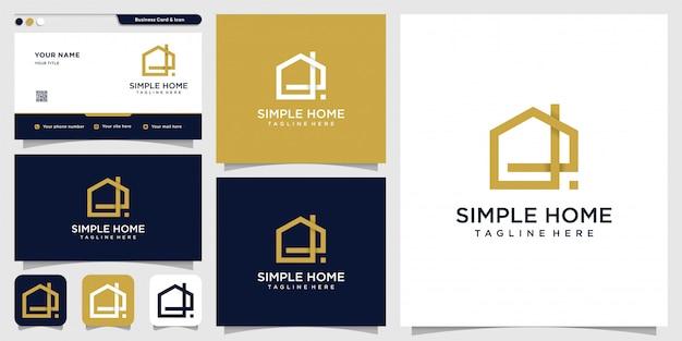 Logo De Maison Simple Avec Concept Moderne Et Modèle De Conception De Carte De Visite, Maison, Immobilier, Bâtiment, Simple Vecteur Premium