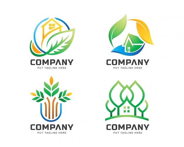 Logo de maison verte créatif pour une entreprise de paysage Vecteur Premium