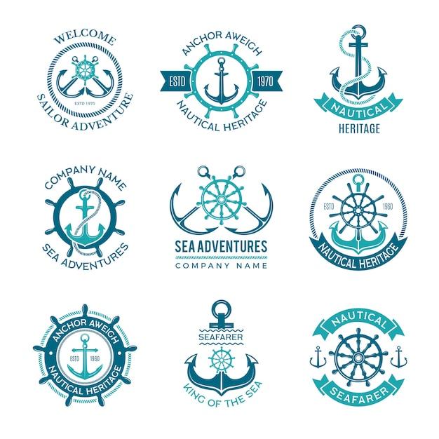 Logo marin. emblème nautique avec ancres de bateau et volants. symboles monochromes de bateau de croisière pour insignes Vecteur Premium