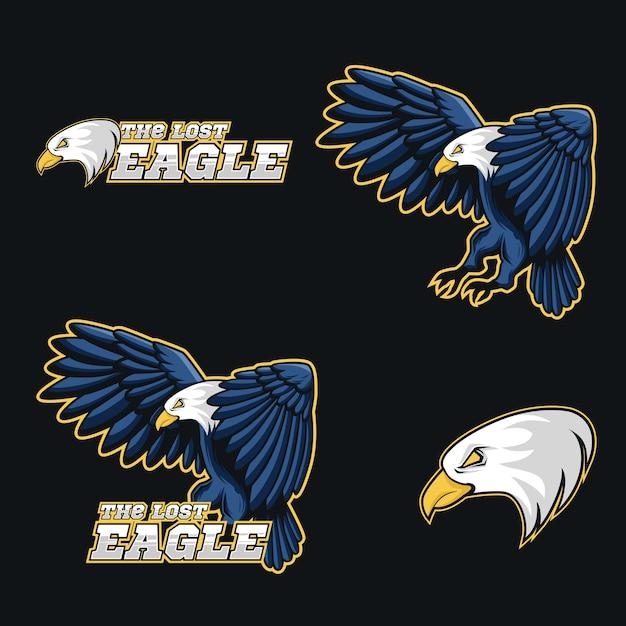 Logo de marque complète aigle bleu illustration vectorielle mascotte Vecteur Premium