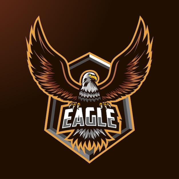 Logo De Mascotte D'aigle Pour L'esport Et Le Sport Vecteur Premium