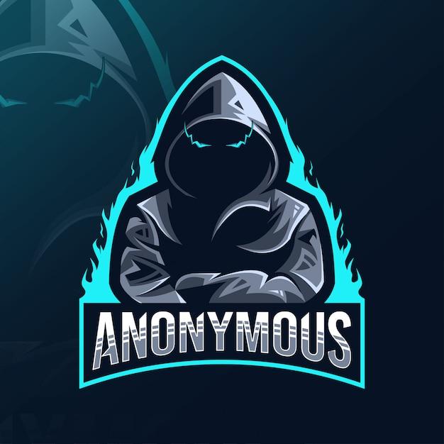Logo Mascotte Anonyme Esport Design Vecteur Premium