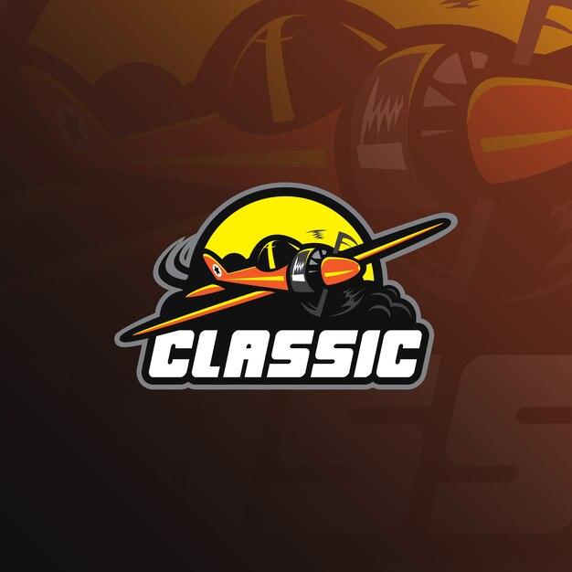 Logo De Mascotte D'avion Avec Un Style D'illustration Moderne Pour L'impression D'insignes, D'emblèmes Et De T-shirts. Vecteur Premium