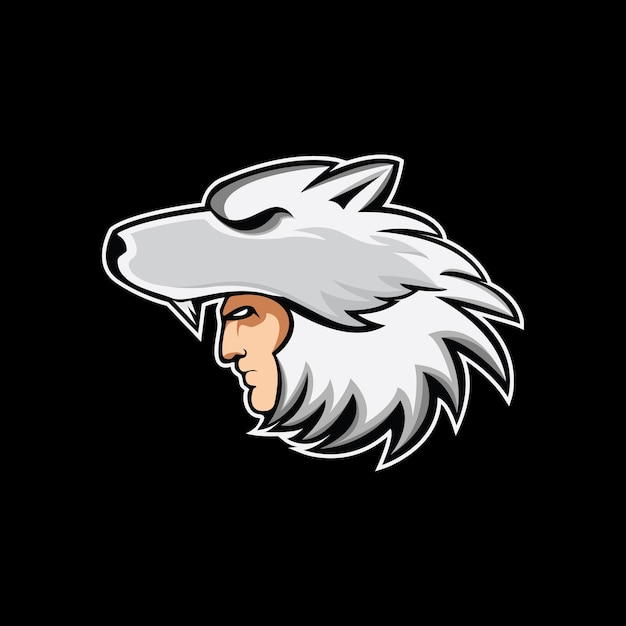 Logo mascotte casque loup Vecteur Premium