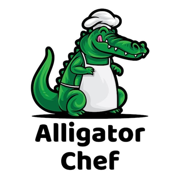 Logo De Mascotte De Chef D'alligator Vecteur Premium