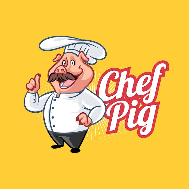Logo Mascotte Chef Porc Vecteur Premium
