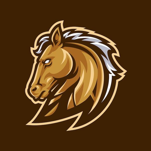 Logo mascotte cheval sport. Vecteur Premium