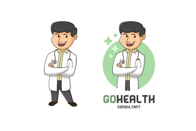 Logo Mascotte Consultant Santé Vecteur Premium
