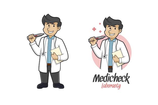Logo De Mascotte De Contrôle Médical Vecteur Premium