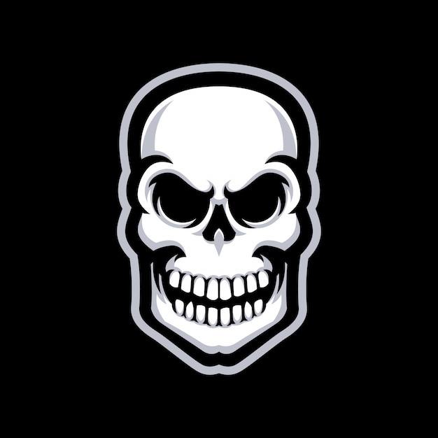 Logo de mascotte de crâne isolé Vecteur Premium