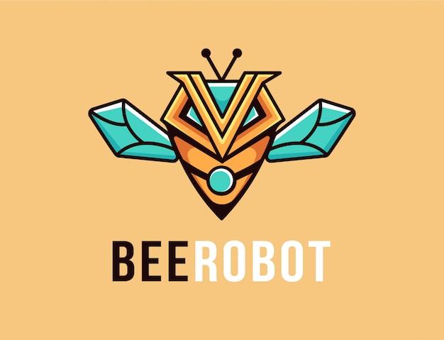 Logo De Mascotte De Dessin Animé Abeille Robot Vecteur Premium