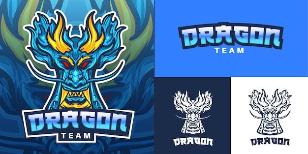 Logo De Mascotte De Dragon Bleu Pour Illustration E-sport Vecteur Premium