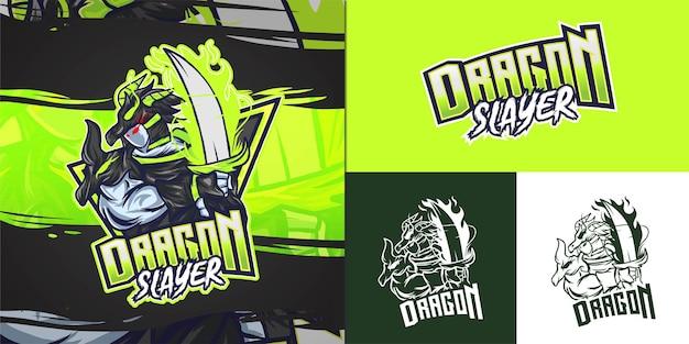 Logo De La Mascotte Dragon Slayer Pour Illustration E-sport Vecteur Premium