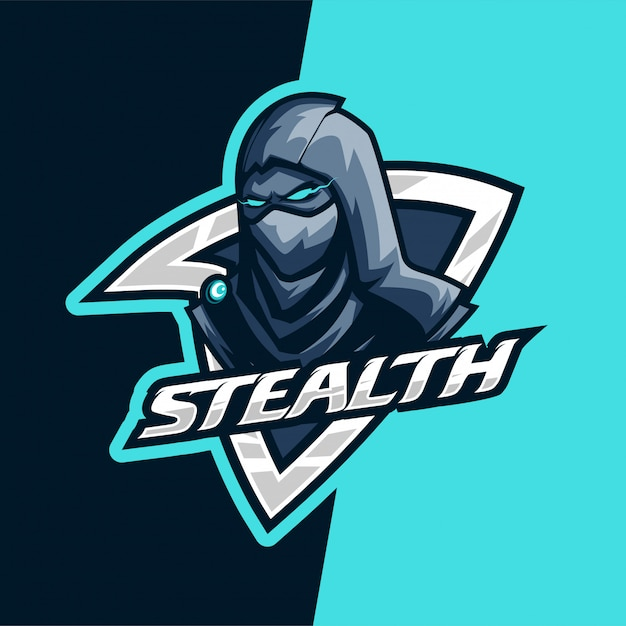 Logo mascotte e-sport de darkness stealth killer Vecteur Premium