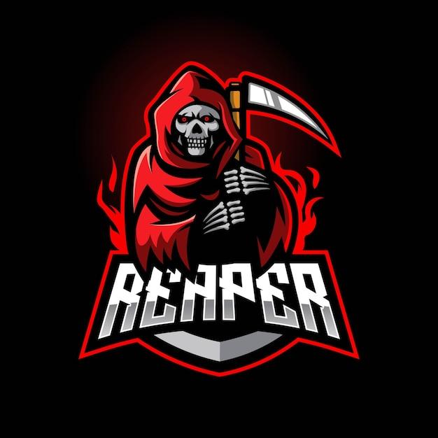 Logo De La Mascotte E-sport Grim Reaper Vecteur Premium