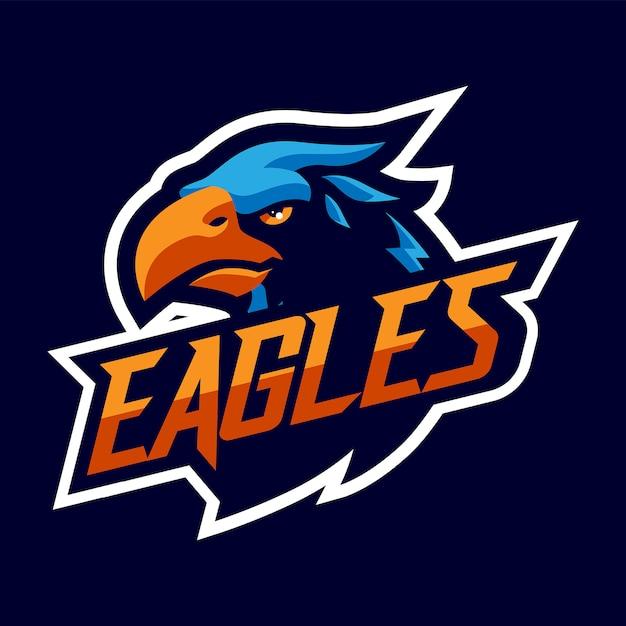 Logo De Mascotte Eagles Head Pour Sport Et Esport Isolé Vecteur Premium