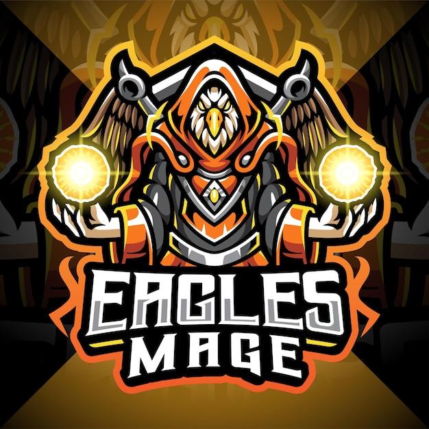 Logo De Mascotte Eagles Mage Esport Vecteur Premium