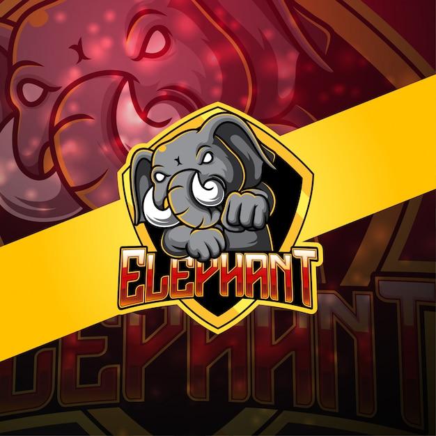Logo Mascotte éléphant Esport Vecteur Premium
