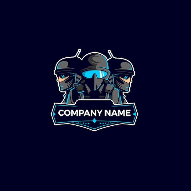 Logo mascotte équipe soldat Vecteur Premium