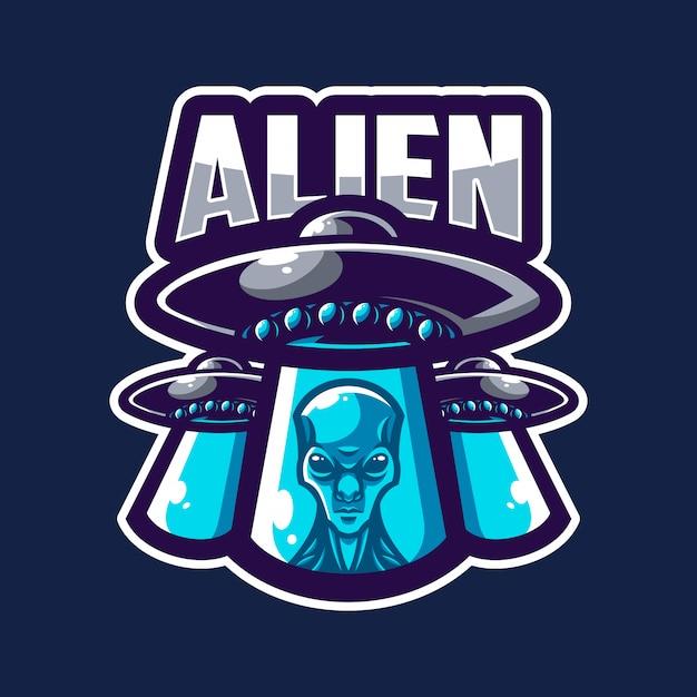 Logo de la mascotte extraterrestre Vecteur Premium