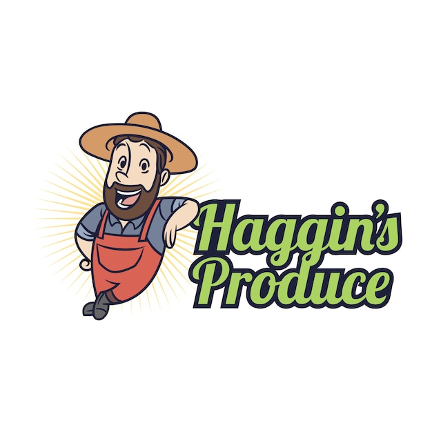 Logo de la mascotte des fermiers Vecteur Premium