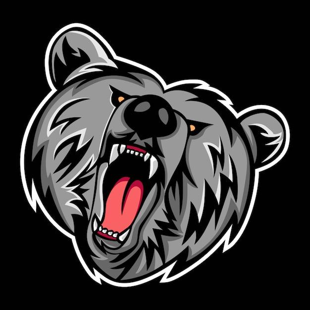 Logo De La Mascotte Grizzly Vecteur Premium
