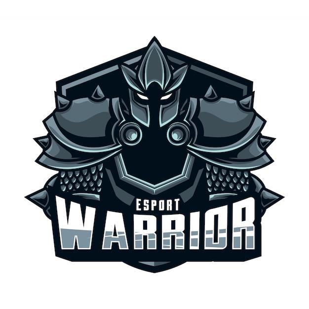 Logo mascotte guerrier esport Vecteur Premium